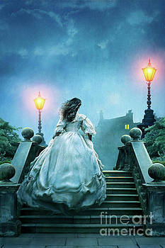 Victorian Woman Running Towards A House At Night by Lee Avison