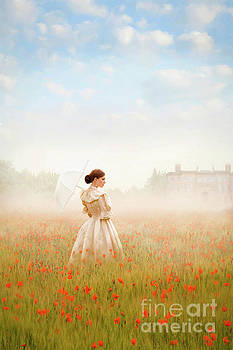 Victorian Woman Standing In A Poppy Meadow At Dawn by Lee Avison