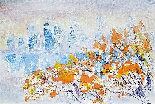 View of Manhattan through autumn leaves by Olga Malamud-Pavlovich
