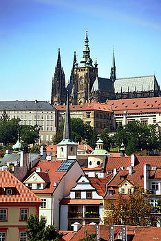 View of Prague Castle and Rooftops by Kathy Yates