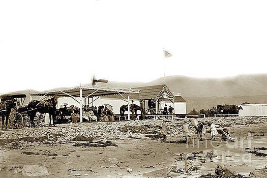California Views Archives Mr Pat Hathaway Archives - View of the Fred Forbush beachfront Santa Barbara first Bath House circa 1880
