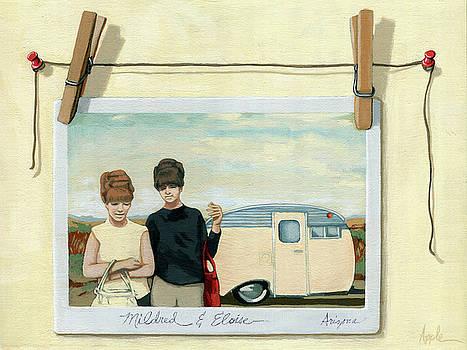 Vintage Campers - still life painting by Linda Apple