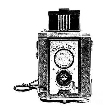 Edward Fielding - Vintage Eastman Kodak Brownie Reflex Synchro Model Film Camera Square Stamp