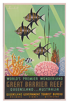 Vintage Great Barrier Reef Travel Poster 2 by Ricky Barnard