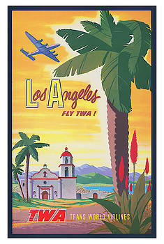 Vintage Los Angeles TWA Travel Poster by Ricky Barnard