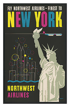 Vintage New York Northwest Airlines Travel Poster by Ricky Barnard