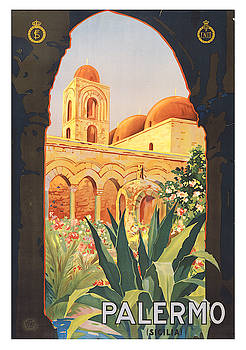 Vintage Palermo Italy Travel Poster by Ricky Barnard