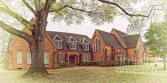 Vintage Panorama of Christ Episcopal Church in Nacogdoches - East Texas Piney Woods by Silvio Ligutti