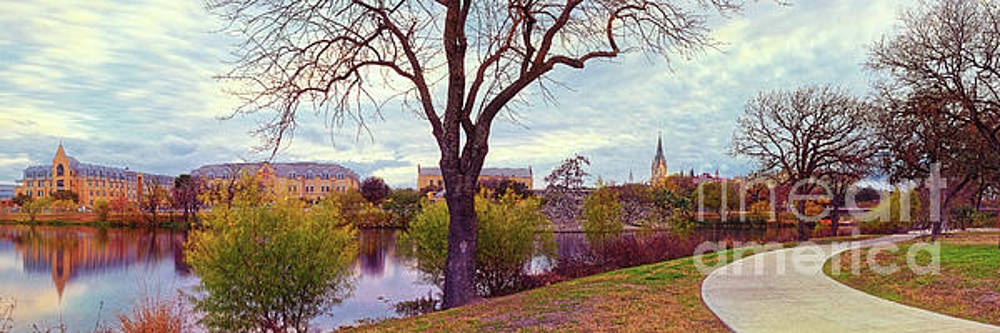 Vintage Panorama of Elmenderf Lake and Our Lady of the Lake University - San Antonio Texas by Silvio Ligutti