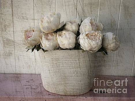 Vintage Pink Peonies In Basket  by Jeannie Rhode
