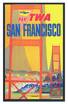 Vintage San Francisco TWA Airlines Travel Poster by Ricky Barnard