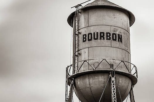 Vintage Sepia Bourbon Whiskey Water Tower Barrel by Gregory Ballos