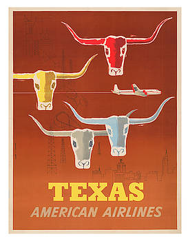 Vintage Texas AA Travel Poster by Ricky Barnard