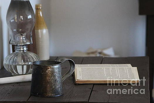 Vintage Tin Cup and Book on Desk 2 by Colleen Cornelius