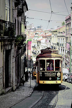 Vintage Tram in Lisbon Portugal by Kathy Yates