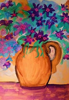 Violet Flowers in Vase by Peggy Leyva Conley