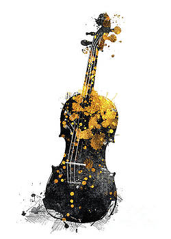 Justyna Jaszke JBJart - Violin music art gold and black #violin #music