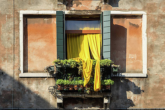 Vivid Venetian Accents - Gen-Z Yellow Curtains  by Georgia Mizuleva
