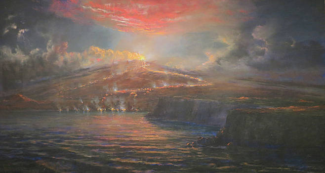 Volcanic Eruption On The Sea At Night by Charles Furneaux