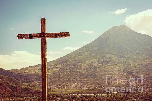 Tim Hester - Volcano And Cross In Antigua Guatemala