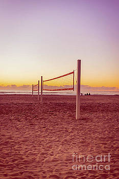 Volleyball Nets Sunset on Mission Beach by Edward Fielding
