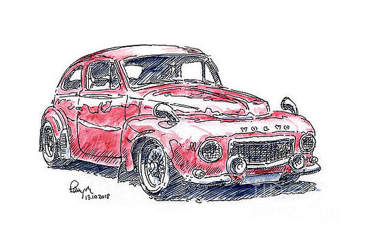 Frank Ramspott - Volvo PV 544 Classic Car Ink Drawing and Watercolor