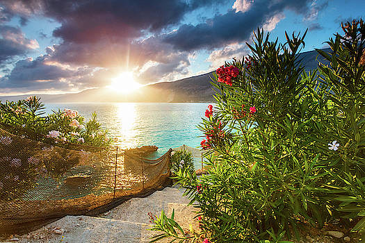 Vouti beach, Kefalonia, Greece - Incredible summer sunrise by th by Evgeni Dinev