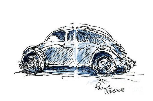 Frank Ramspott - VW Beetle Classic Car Ink Drawing and Watercolor