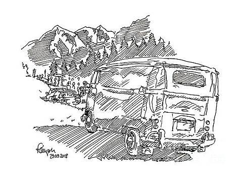 Frank Ramspott - VW Bus Mountains Rossfeld Hill Climb Race Ink Drawing