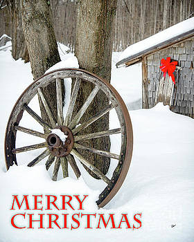 Wagon Wheel Merry Christmas Card by Alana Ranney