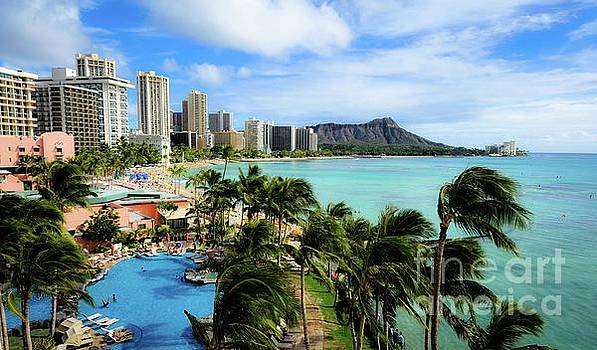 Waikiki Beach - Diamond Head Crater  by D Davila