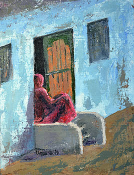 Waiting - Bundi series 6 by Uma Krishnamoorthy