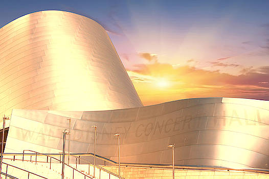 Wall Disney Concert Hall At Sunset by Art Spectrum