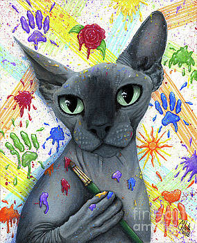 Walter The Artist - Sphynx Cat by Carrie Hawks