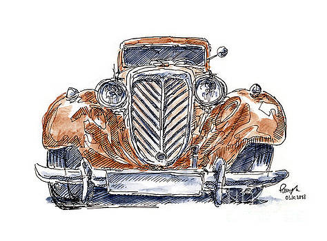 Frank Ramspott - Wanderer W21 Classic Car Ink Drawing and Watercolor