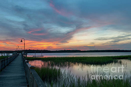 Wando River Golden Sunset Sky  by Dale Powell