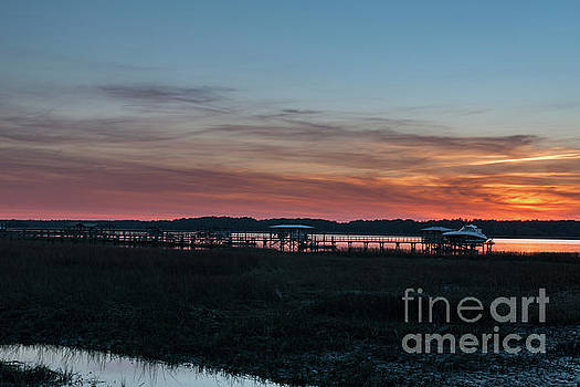 Wando River Sunset Sky - Charleston South Carolina by Dale Powell