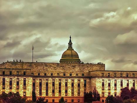 Washington Capital Peaking Through The Clouds by Kathy Gail