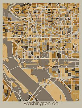 Washington Dc Map Retro 4 by Bekim M