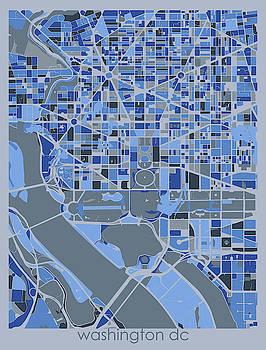 Washington Dc Map Retro 5 by Bekim M