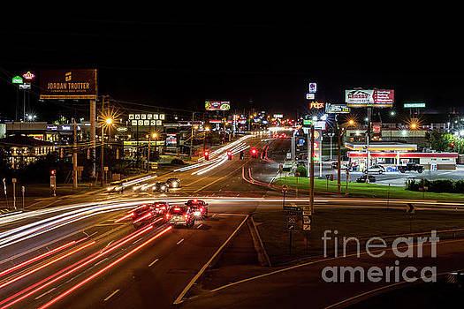 Washington Road at Night - Augusta GA by Sanjeev Singhal