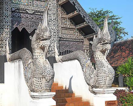 Wat Chedi Luang Venerable Acharn Mun Bhuridatto Wihan Makara and Naga Guardians DTHCM0060 by Gerry Gantt