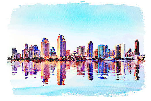 Water color of San Diego Skyline at sunset by Steven Heap