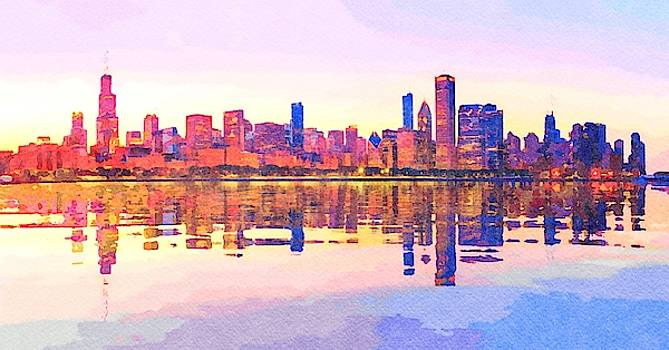 Water color of sunset over city skyline Chicago from Observatory by Steven Heap