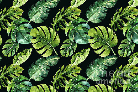 Watercolor Botanical Tropical Palm Leaves on Solid Black Background  by Melissa Fague