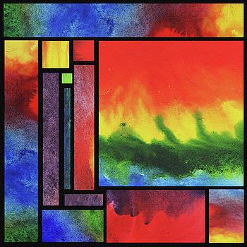 Irina Sztukowski - Watercolor Bright Vivid Geometry Blocks Abstract III