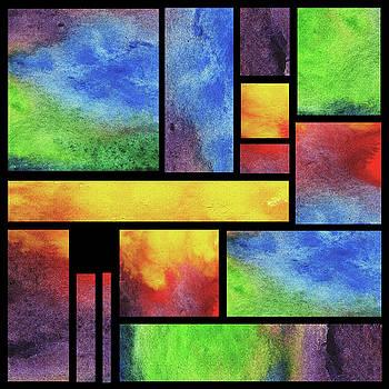 Irina Sztukowski - Watercolor Bright Vivid Geometry Blocks Abstract V