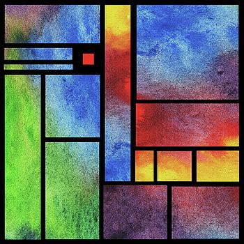 Irina Sztukowski - Watercolor Bright Vivid Geometry Blocks Abstract VI