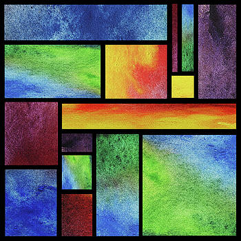 Watercolor Bright Vivid Geometry Blocks Abstract VII by Irina Sztukowski