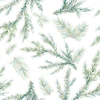 Watercolor Christmas Tree Branches by Eisfrei